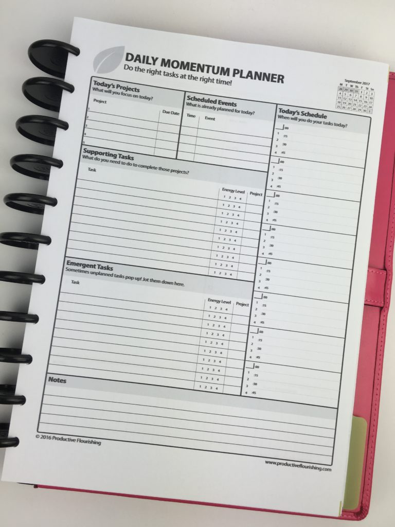 daily momentum planner review productive flourishing task goal setting project management planner pen and paper undated diy