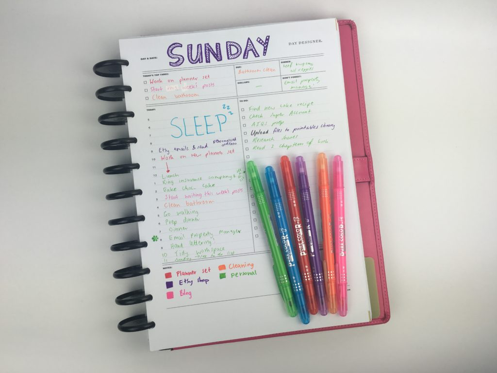 day designer whitney english review day to a page daily planner color coding pure color f pen best productivity hacks tips ideas