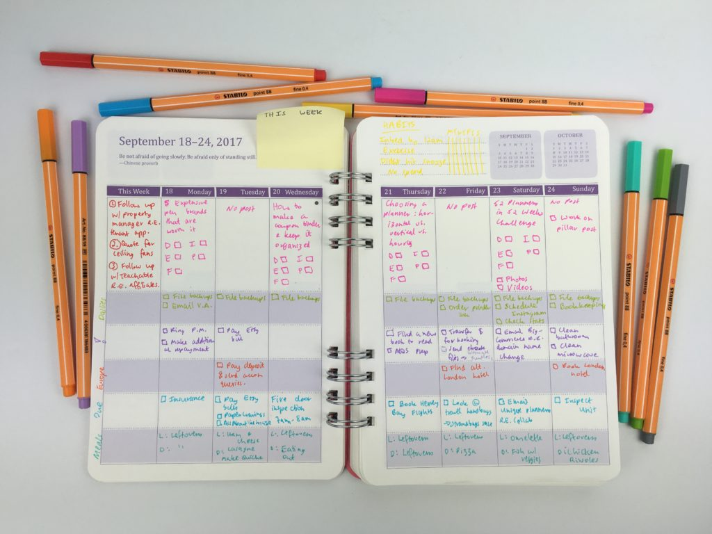 do it all planner review weekly spread pros cons categorised a5 australia officeworks color coding ideas blogging organized time management