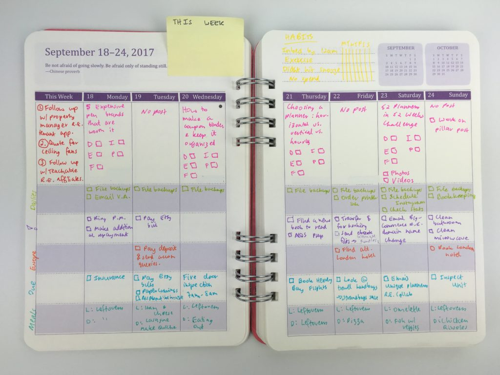 do it all weekly planner review color coding categorised blogging meal planning a5 monday start cheaper alternative to erin condren-min