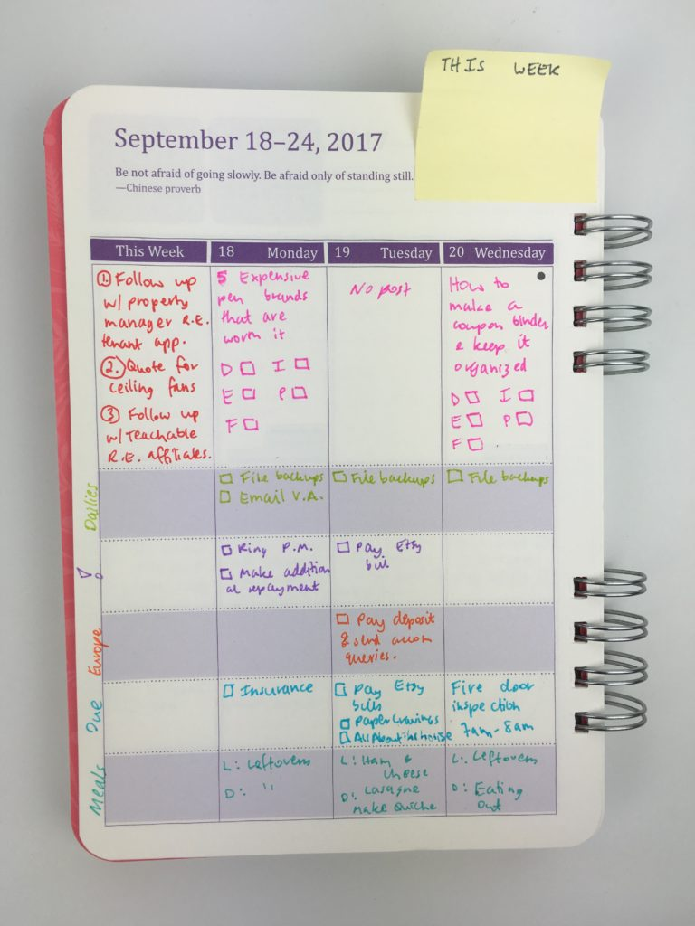 do it all weekly planner review pros cons spread setup layout ideas color coding using sticky notes for planning categories