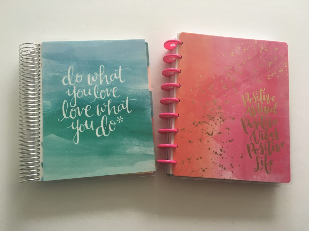happy planner versus erin condren horizontal life planner comparison review pros cons binding size colors layout monday start