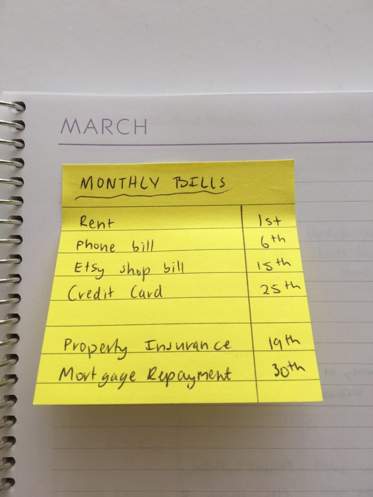 how to use sticky note for weekly planning bill paying ideas inspiration tips setting up a planner recurring tasks routine habit tracking hack