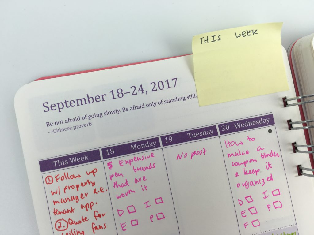 how to use sticky notes for planning color coding tabs diy weekly spread do it all planner review weekly vertical
