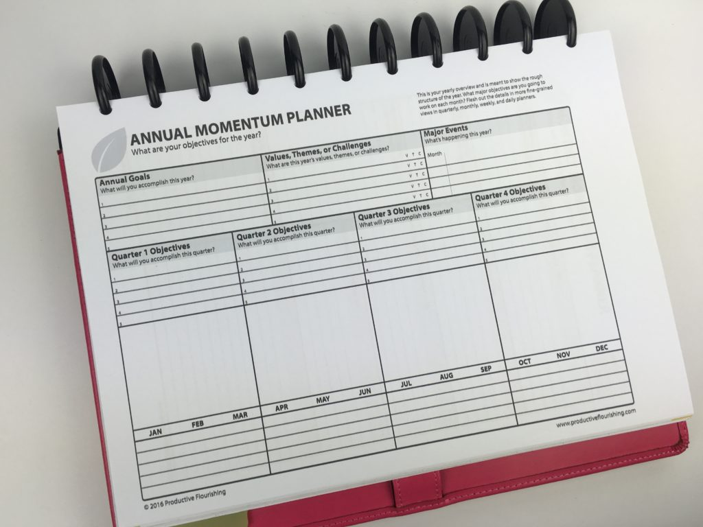 momentum planner review annual goal setting paper planner printable quarter monthly to do list tasks organizer