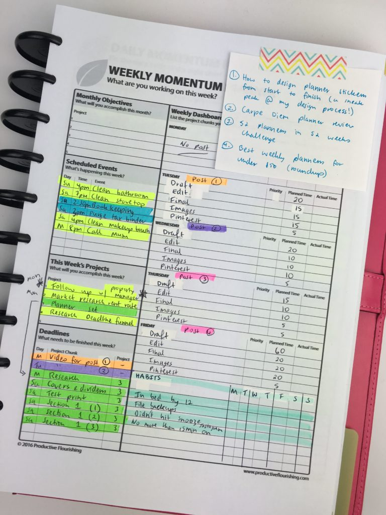 momentum planner review productive flourishing pros and cons color coding highlighters blog planning habit tracker goals diy arc notebook
