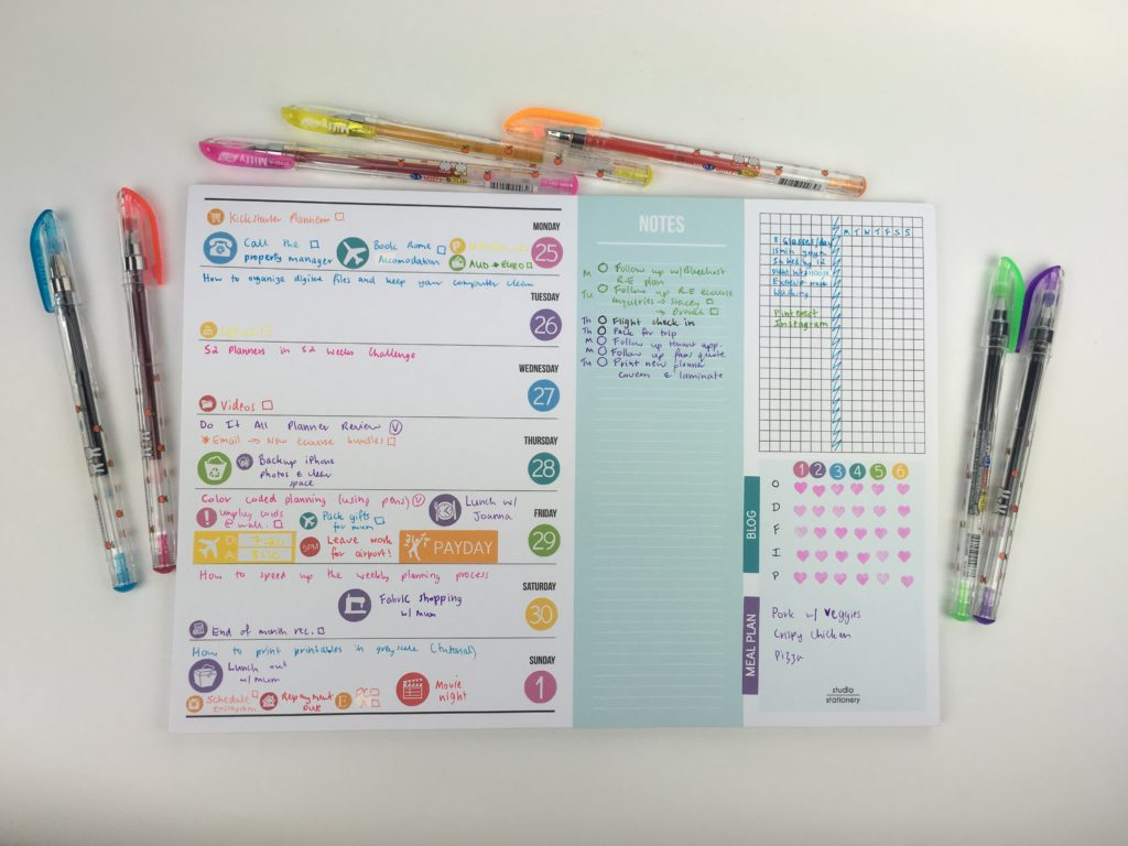 studio stationery notepad weekly planner blogging color coding notes habit tracker bujo tear off pad stickers diy