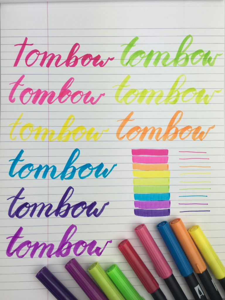 tombow brush lettering ideas color swatches bright free printable worksheet alphabet