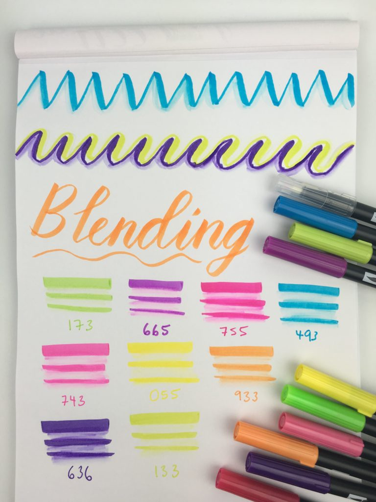 tombow dual brush tip pens blending ombre effect hand lettering tips tutuorial diy rhodia notepad beginner guide