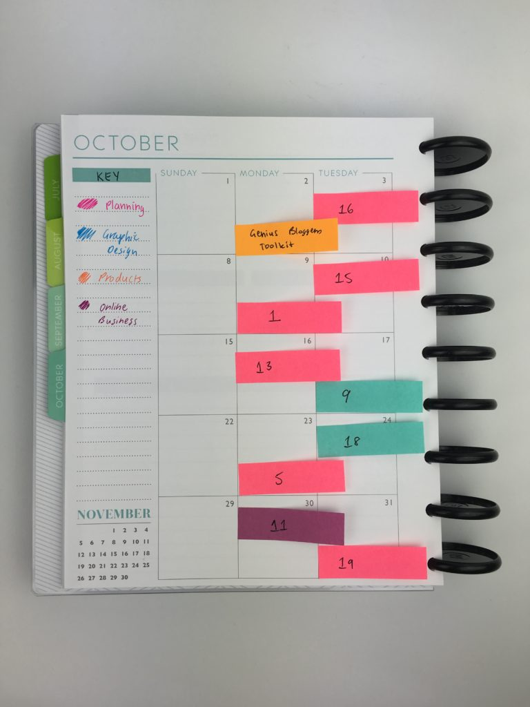 using sticky notes for blog planning monthly content calendar flexible pen and paper color coding plum paper organizing blogging