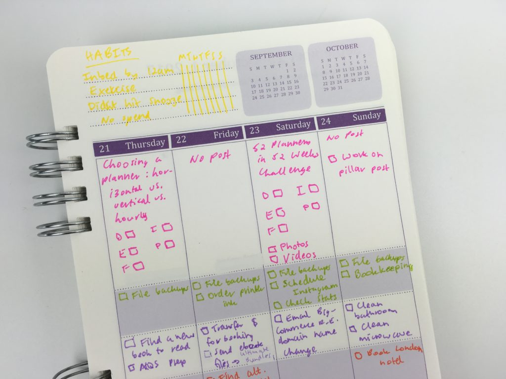 weekly spread ideas habit track inspiration do it all planner officeworks review pros cons cheap alternative a5