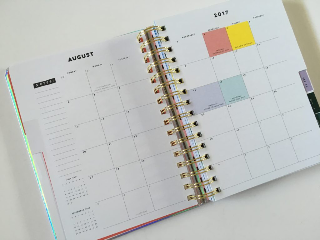 ban do weekly planner inside layout monthly spread holidays pre printed sunday start colorful review pros and cons