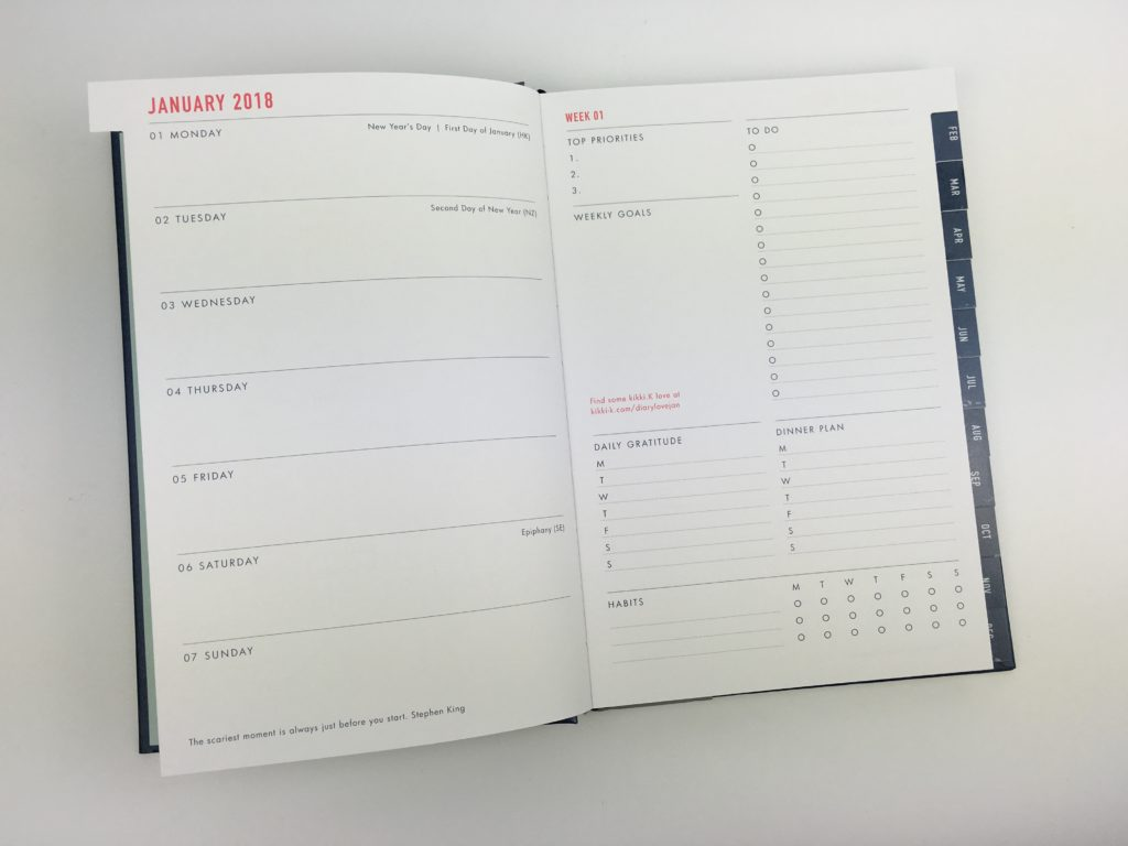 kikki k 2018 planner review horizontal 2 page weekly spread book bound lay flat binding simple top 3 habit tracker pros and cons