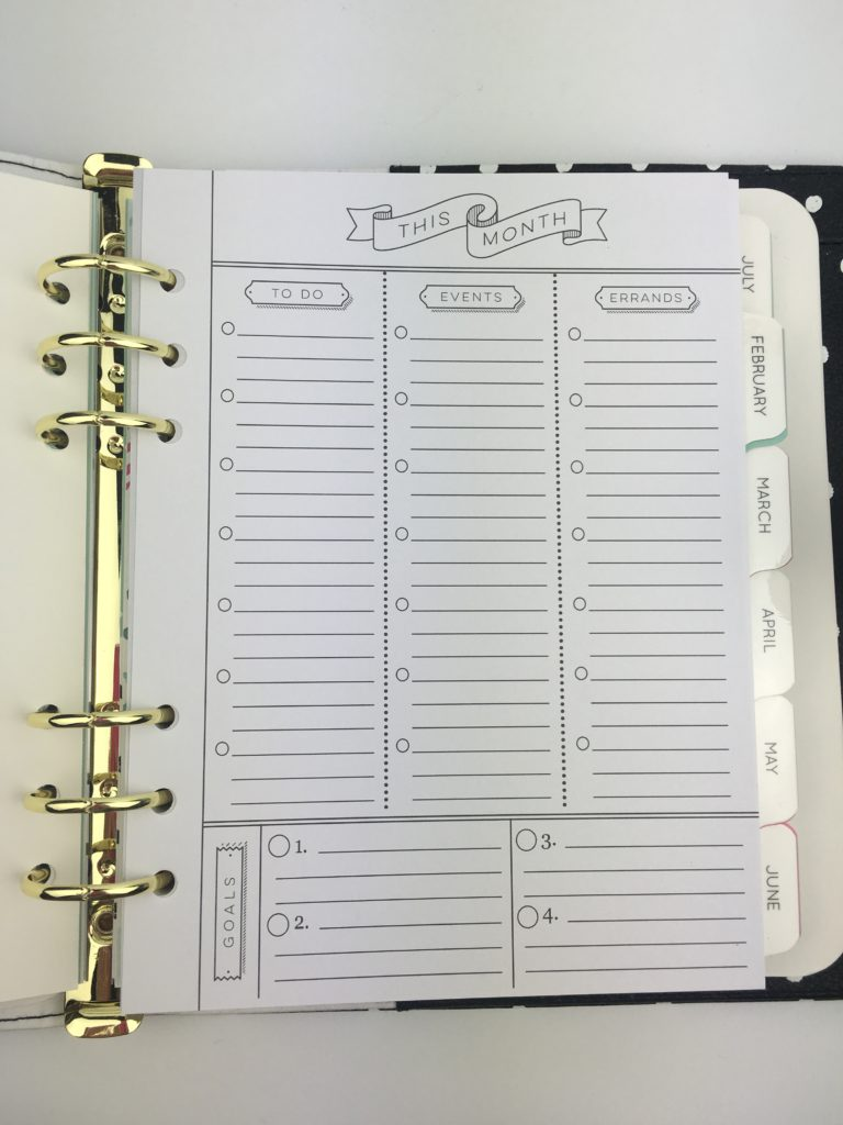 prima planner monthly planning page to do list a5 6 ring bound insert review pros and cons unboxing in the moment minimalist undated diy