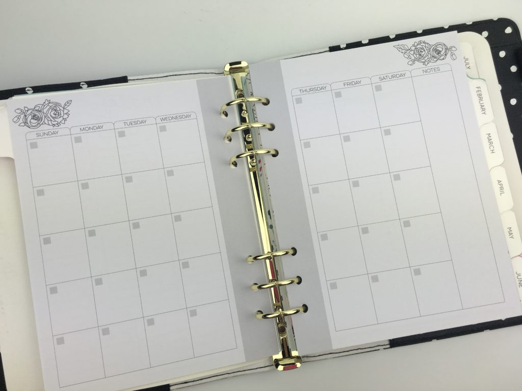 prima planner review monthly calendar undated minimalist unboxing pros and cons a5 6 ring bound insert black and white in the moment breathe