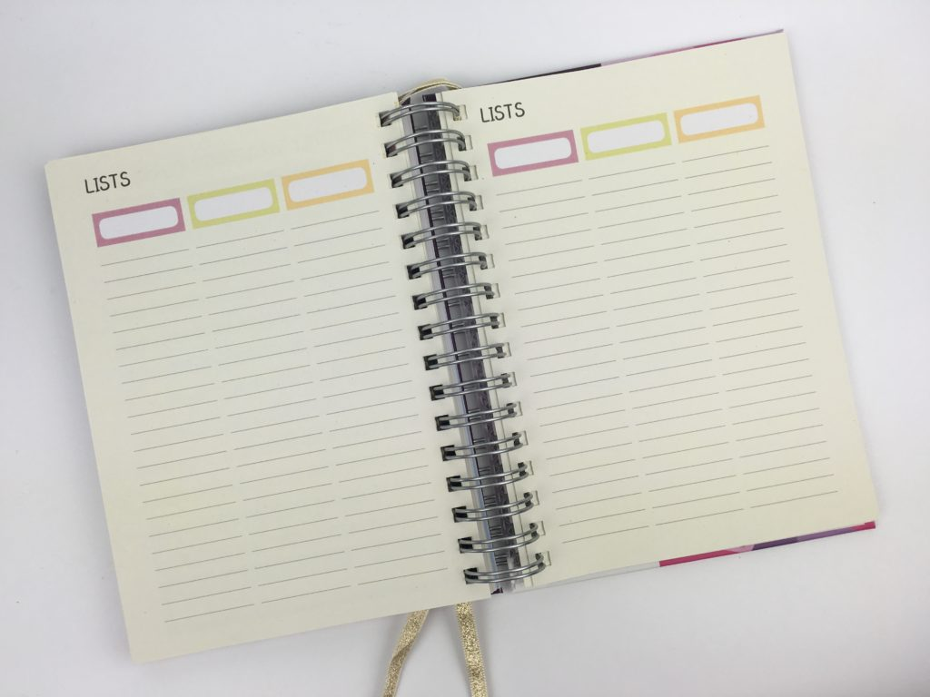 priongs weekly planner pages lists colorful color coding weekly horizontal lined 2018 planner review blogging united kingdom uk