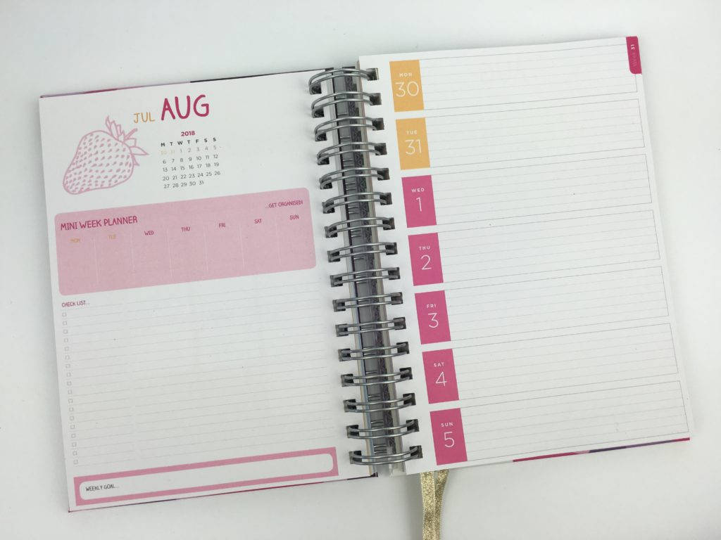 unique planners review horizontal lined weekly planner a5 uk united kingdom colorful pros and cons colorful blogging meal planning