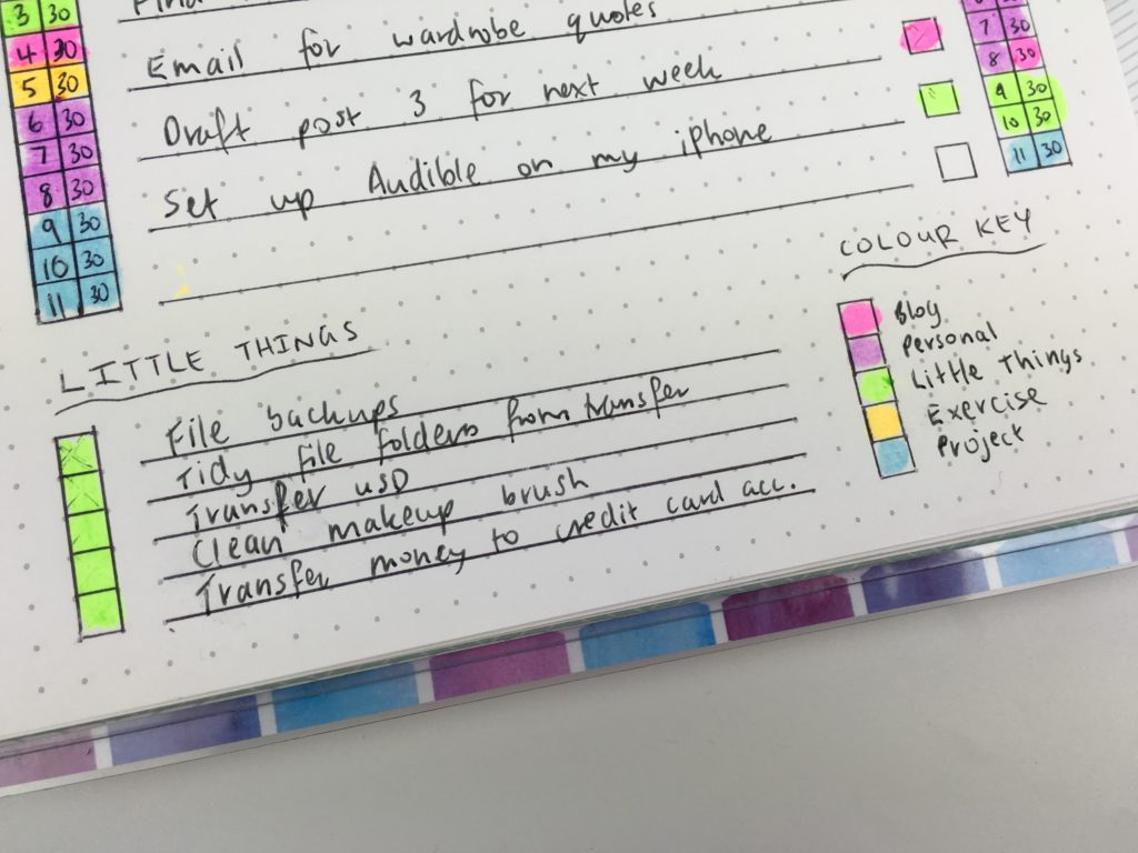 bullet journal inspiration ideas daily spread layout diy color coding plum paper grid dot notebook review collection productivity schedule