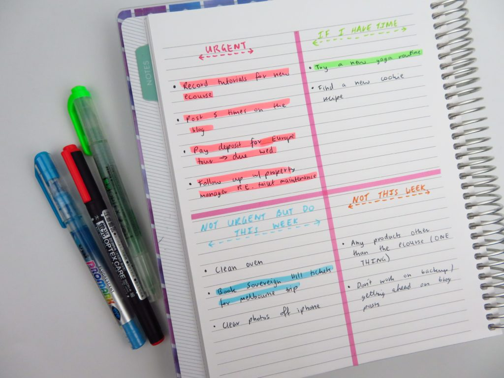 color coding using highlighters planning tips ideas inspiration bullet journal bujo spread plan by category rather than by day plum paper notebook review-min