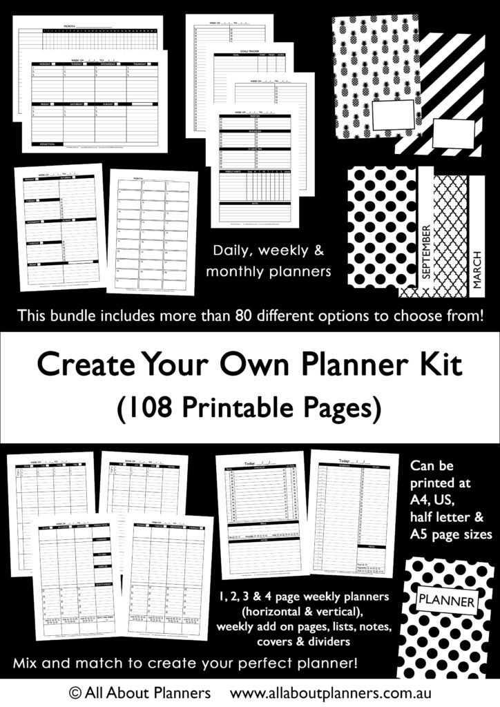 the create your own planner kit 108 printable pages to create