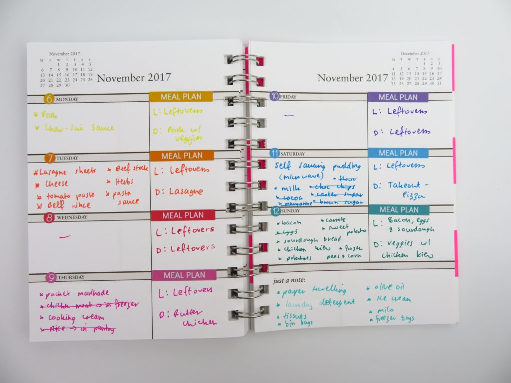 how to use your planner for meal planning color coding ideas grocery list shopping list agenda diary sarah pinto 2017 weekly planner horizontal ideas-min