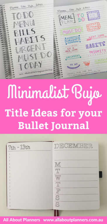 minimalist bujo title ideas for your bullet journal quick simple easy all about planners newbie weekly monthly daily spreads inspiration