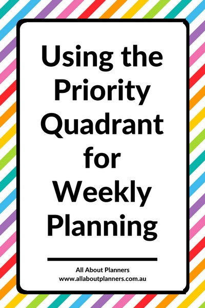 using the priority quadrant for weekly planning Eisenhower matrix creative ways to plan the week inspiration spread bullet bujo