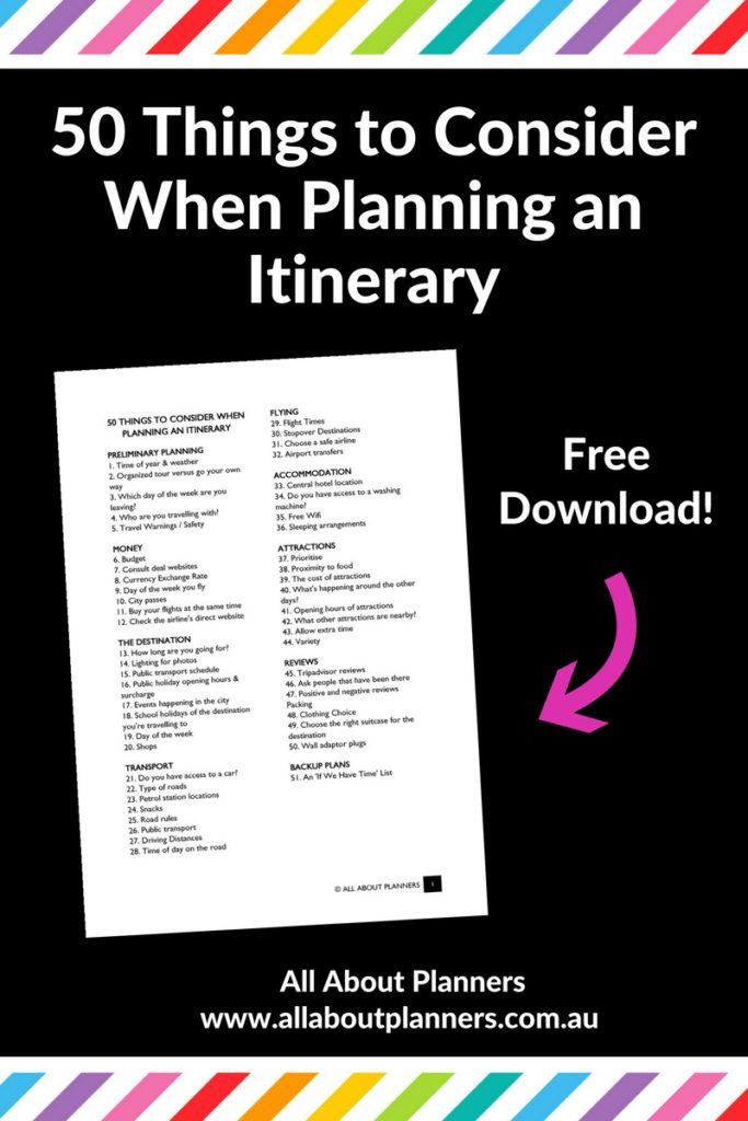 50 things to consider when planning an itinerary checklist printable tips organization ideas ultimate guide vacation destination