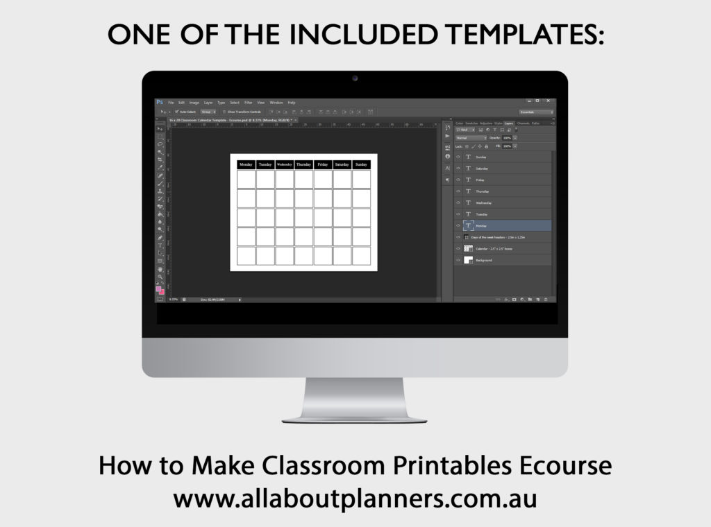 Calendar template photoshop editable simple customisable personalised how to make classroom printables turorial ecourse psd
