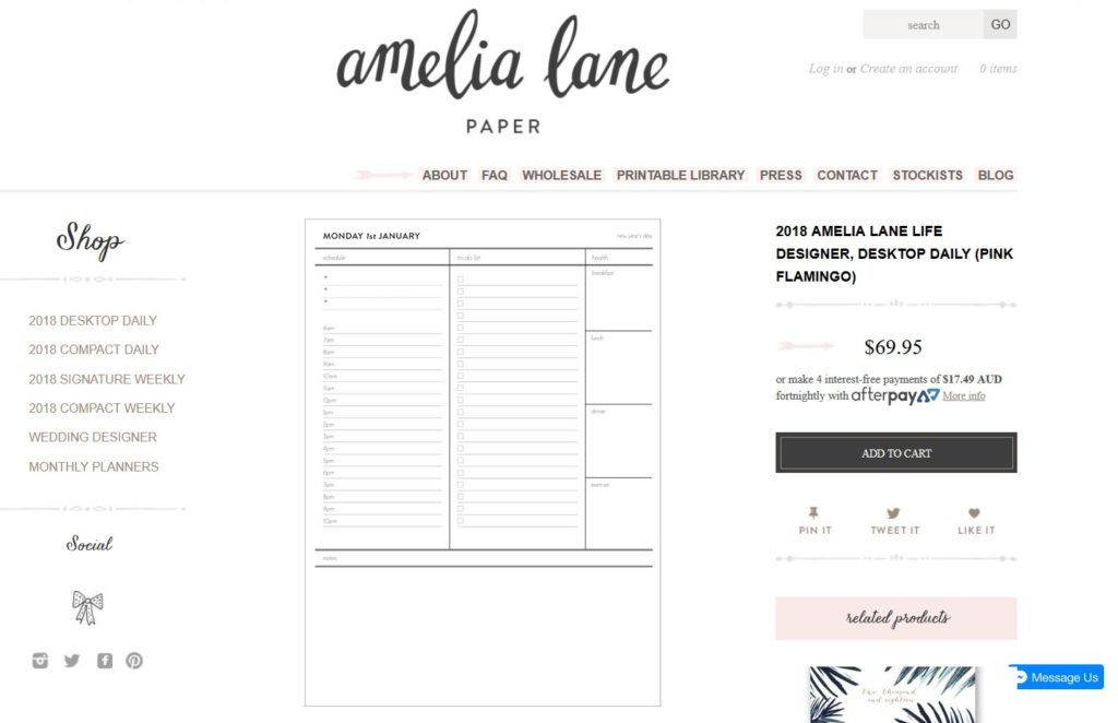 amelia lane paper daily planner review weekly simple monday start australian planner company pretty minimalist