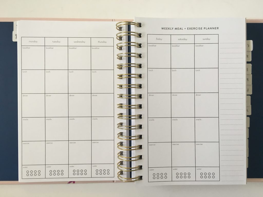 amelia lane planner 2 page monthly calendar funcational tabs divider a5 size made in australia simple minimalist horizontal weekly spread 2 page spiral hardcover monday start