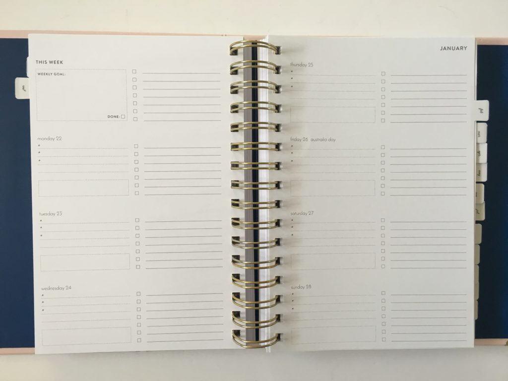 amelia lane weekly planner horizontal 2 page spread lined checkboxes australian made functional minimalist health fitness budgeting