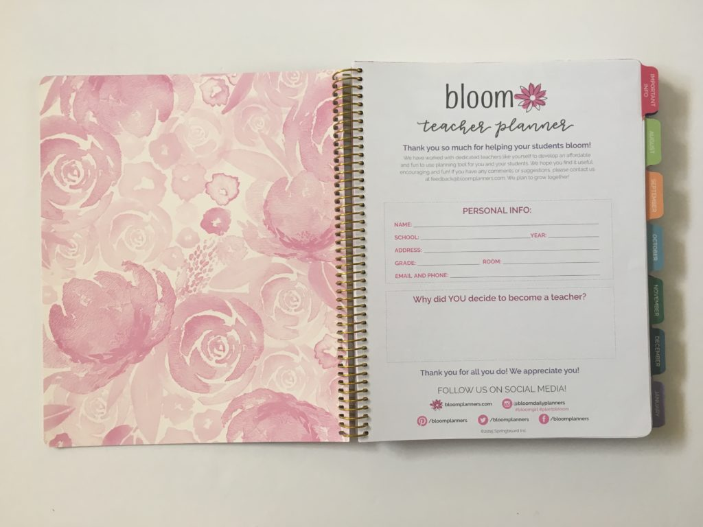 bloom teacher planner monthly calendar undated monthly planning checklist inspirational quotes organization teaching resource tool australia usa rainbow floral review pros and cons