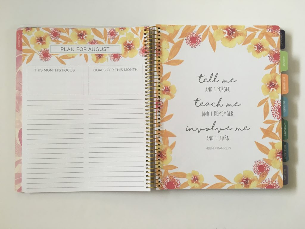 bloom teacher planner monthly calendar undated monthly planning checklist inspirational quotes organization teaching resource tool australia usa rainbow floral review pros and cons affordable
