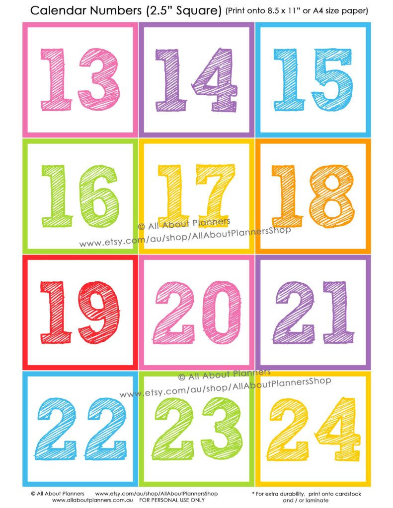 calendar numbers classroom decorating printable rainbow colorful back to school teaching resources numbers-min