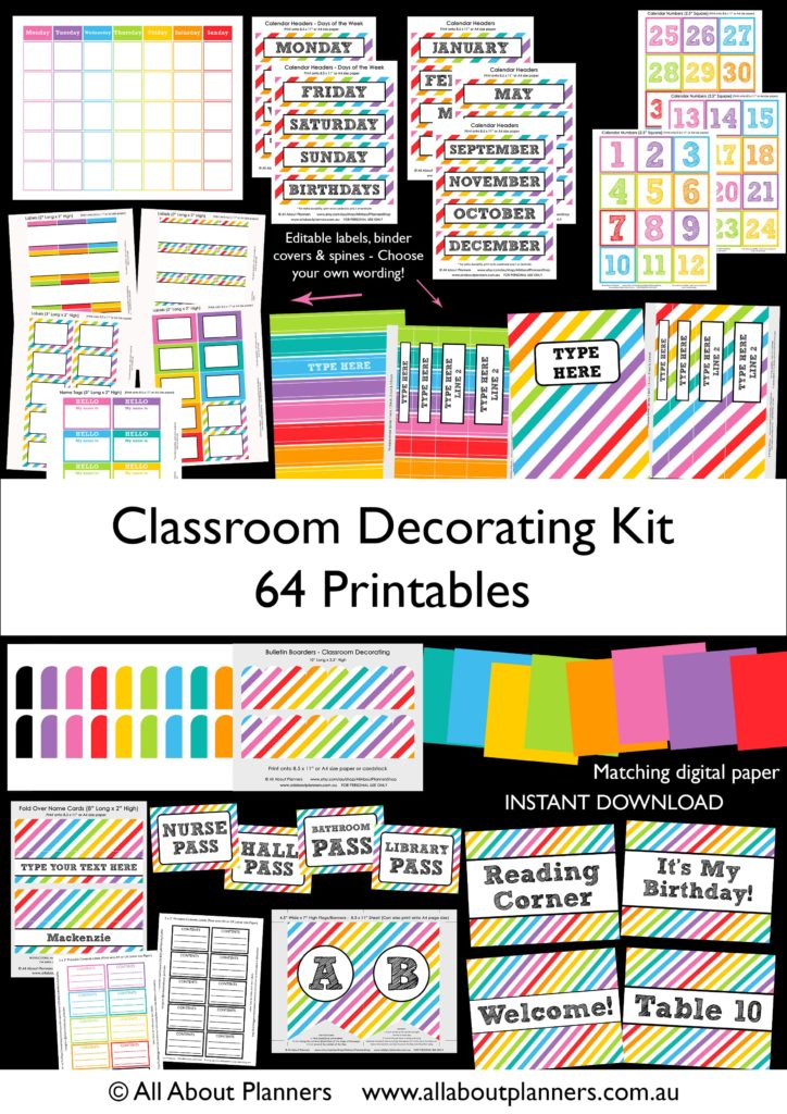 classroom decorating kit printables organization teaching resources bright rainbow calendar binder cover labels editable-min