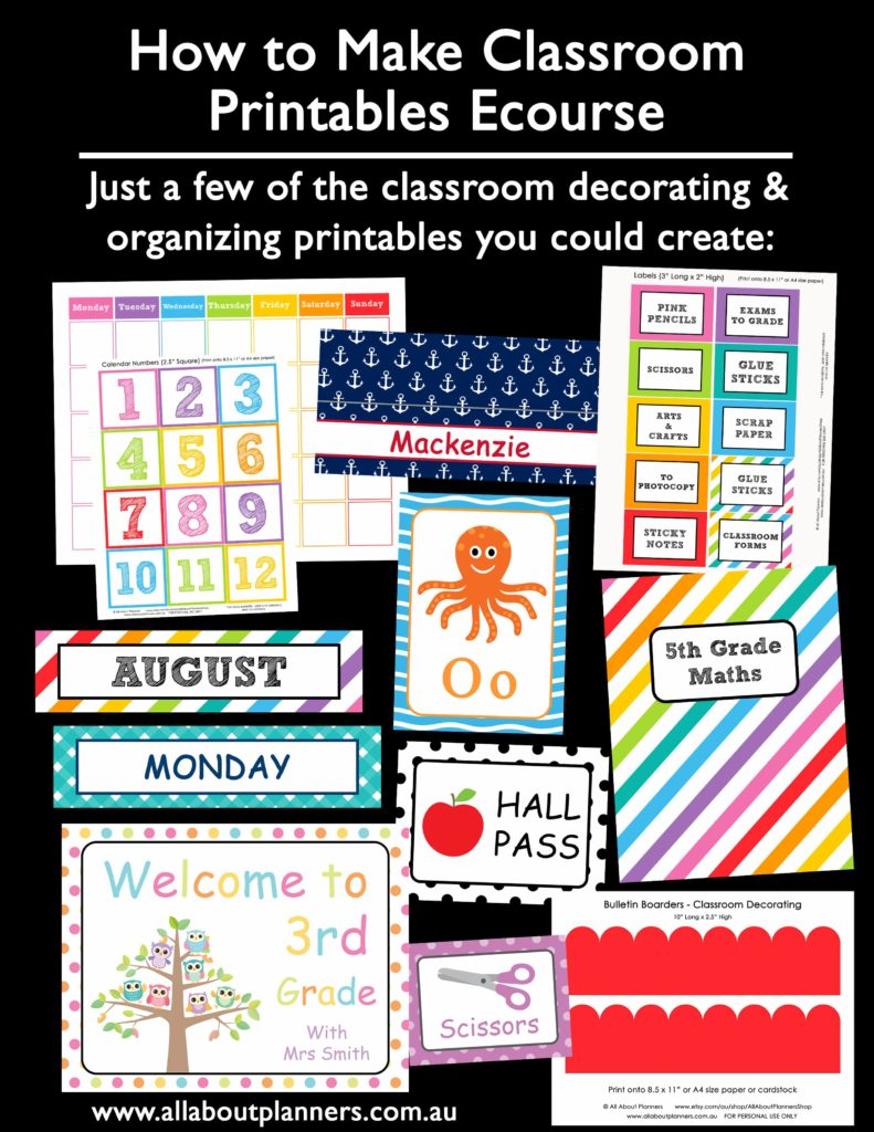 classroom printable worksheets tutorial ecourse organizing labels sign calendar diy template word wall bulletin border binder cover-min
