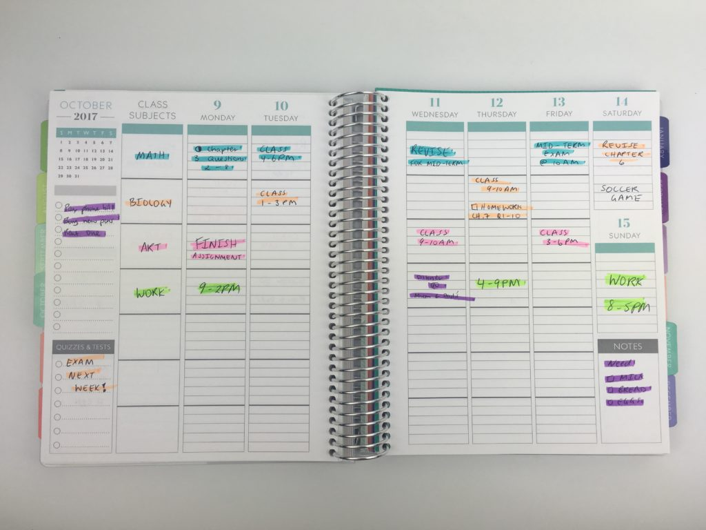 how to color code your planner for school plum paper student planner organization productivity time management subject time category highlighters
