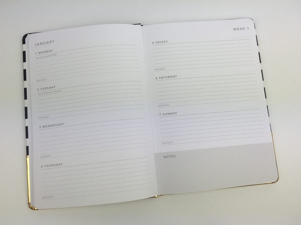 kmart weekly planner haul horizontal review supplies gold foil horizontal monday week start cheap affordable australian stationery