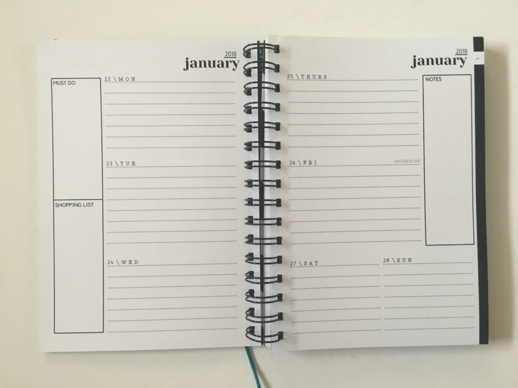 2 page horizontal weekly planner lined sidebar spread alternative to bullet journal monday start australian made simple minimalist neutral