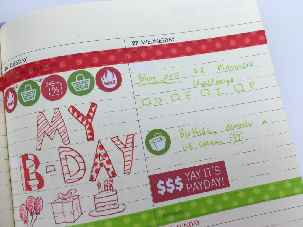 christmas planner decorating ideas red and green thin washi tape doodlebug color coding birthday icon stickers travel bill due kikki k planner horizontal lined review blog post planning