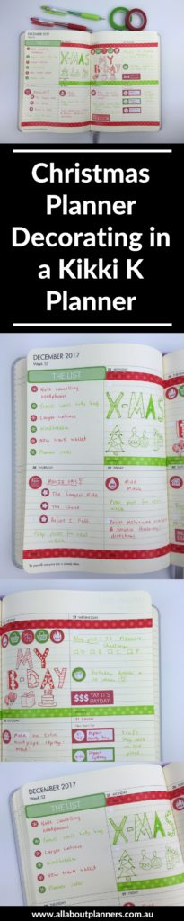 christmas planner decorating red and green kikki k weekly planner horizontal washi tape simple icon planner stickers inspiration