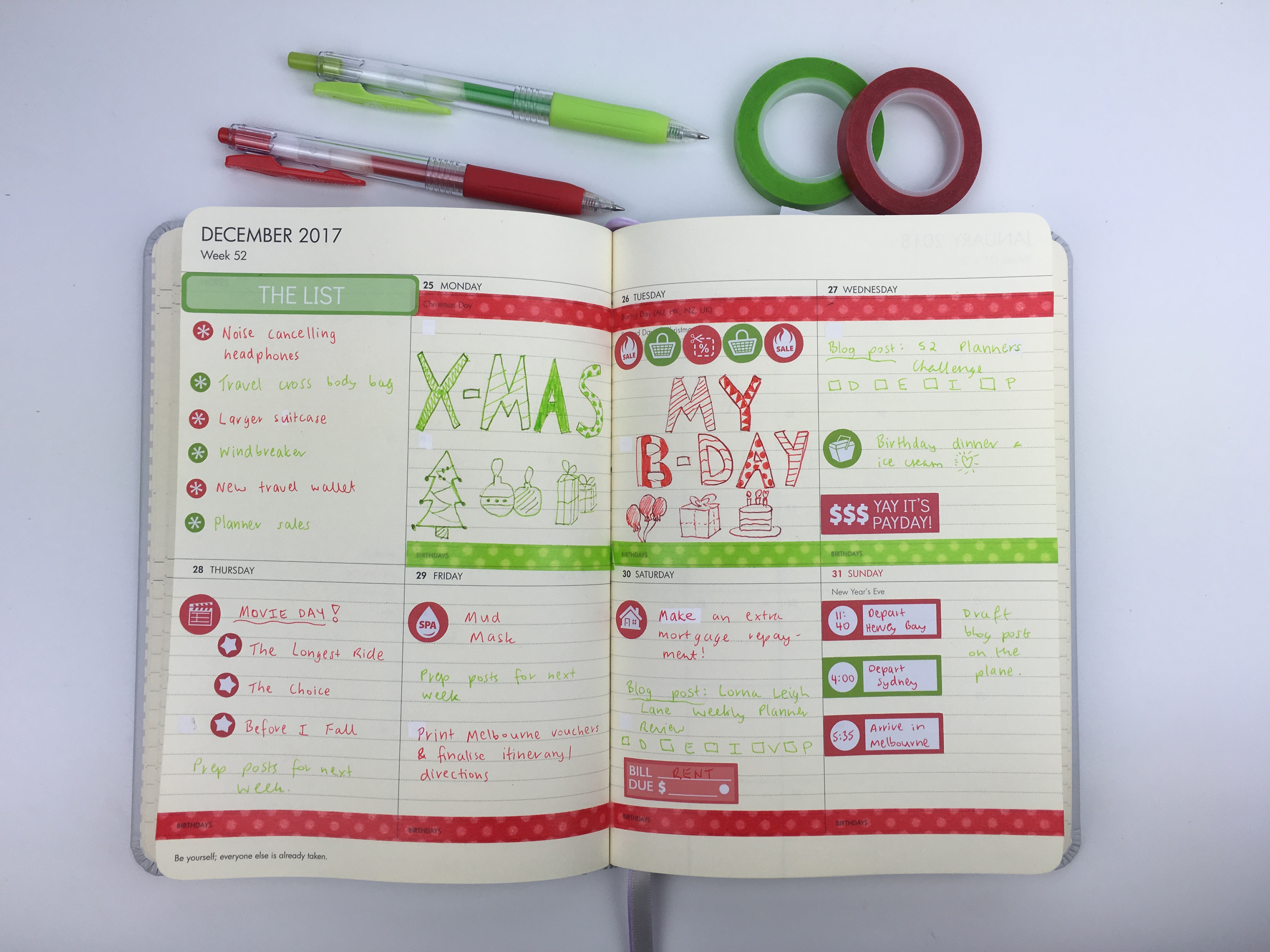 christmas planner spread weekly red and green washing tape planner stickers hand lettering kikki k planner review lined horizontal simple colorful