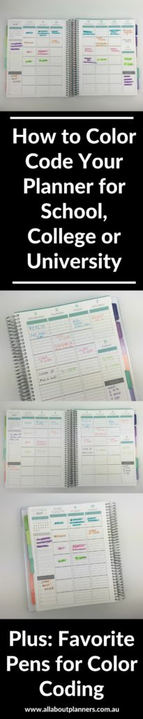 How to color code your planner for school using pens for Color coding planner