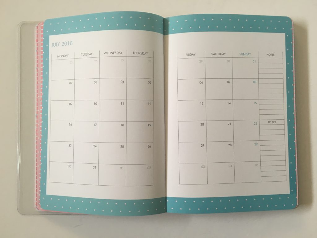 kikki k monthly calendar 2 page week start monday student college university school life planner cute colorful