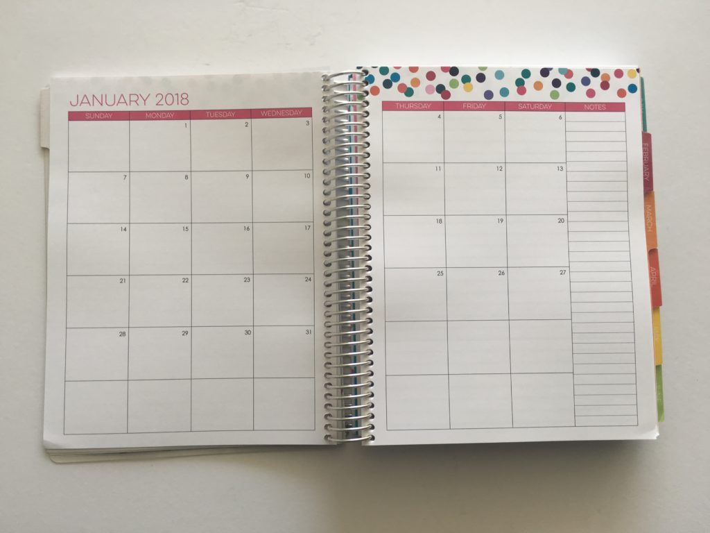 limelife planners monthly calendar 7 x 9 inch medium page size rainbow dotti theme sunday start week sidebar large planning space spiral bound agenda organizer daily 2018
