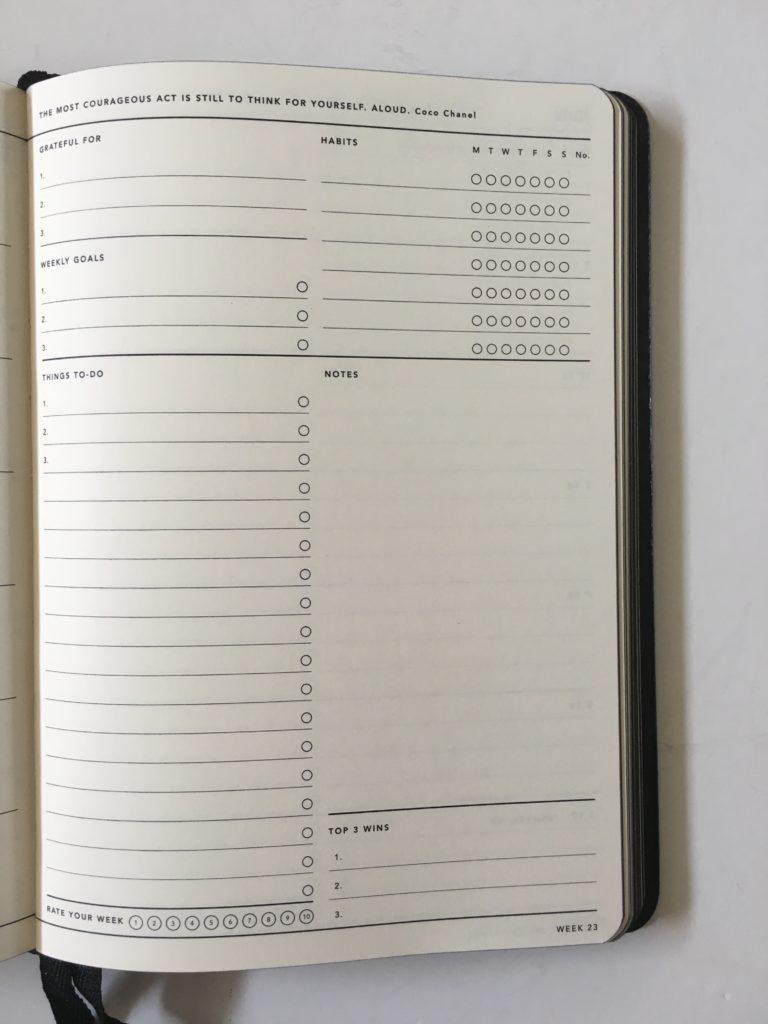 mi goals 2018 planner review weekly habit tracker book bound journal minimalist gender neutral horizontal pros and cons australian made