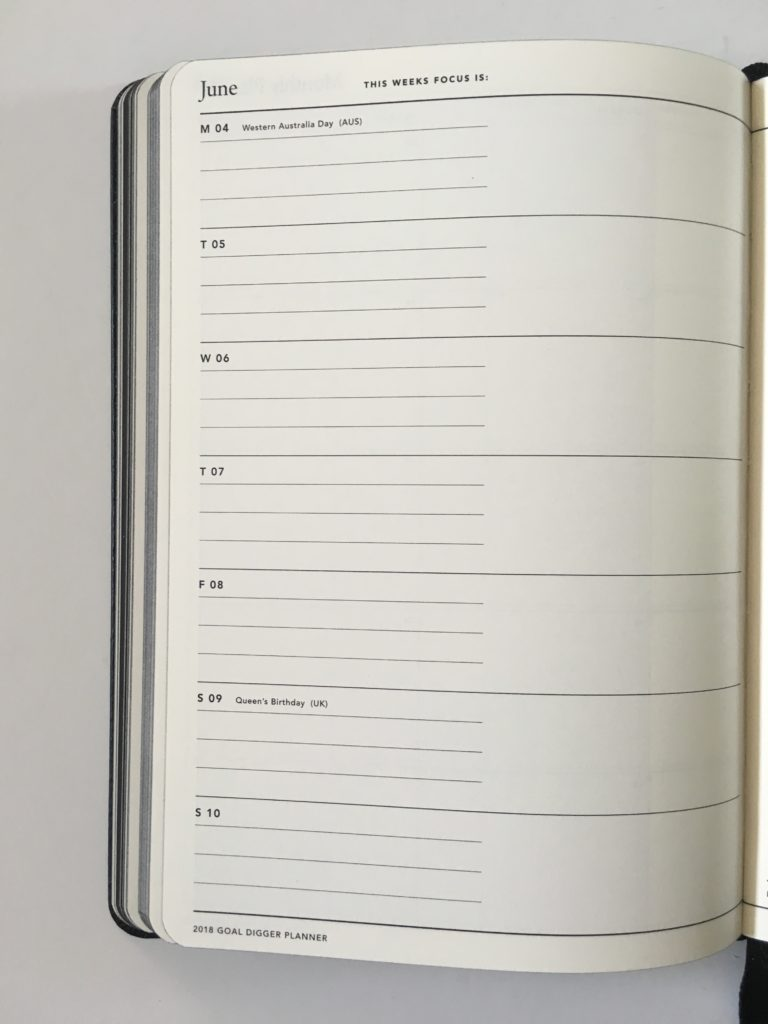 mi goals weekly planner horizontal monday week start lined bookbound australian made public holidays pre-printed review