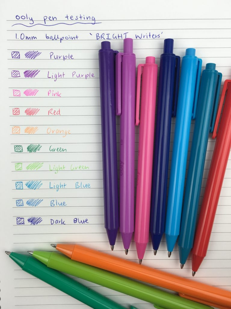 ooly ballpoint pens 1mm medium tip rainbow colors similar to kikki k needle tip planner supplies stationery review haul color coding rainbow pen pack affordable zulilly haul