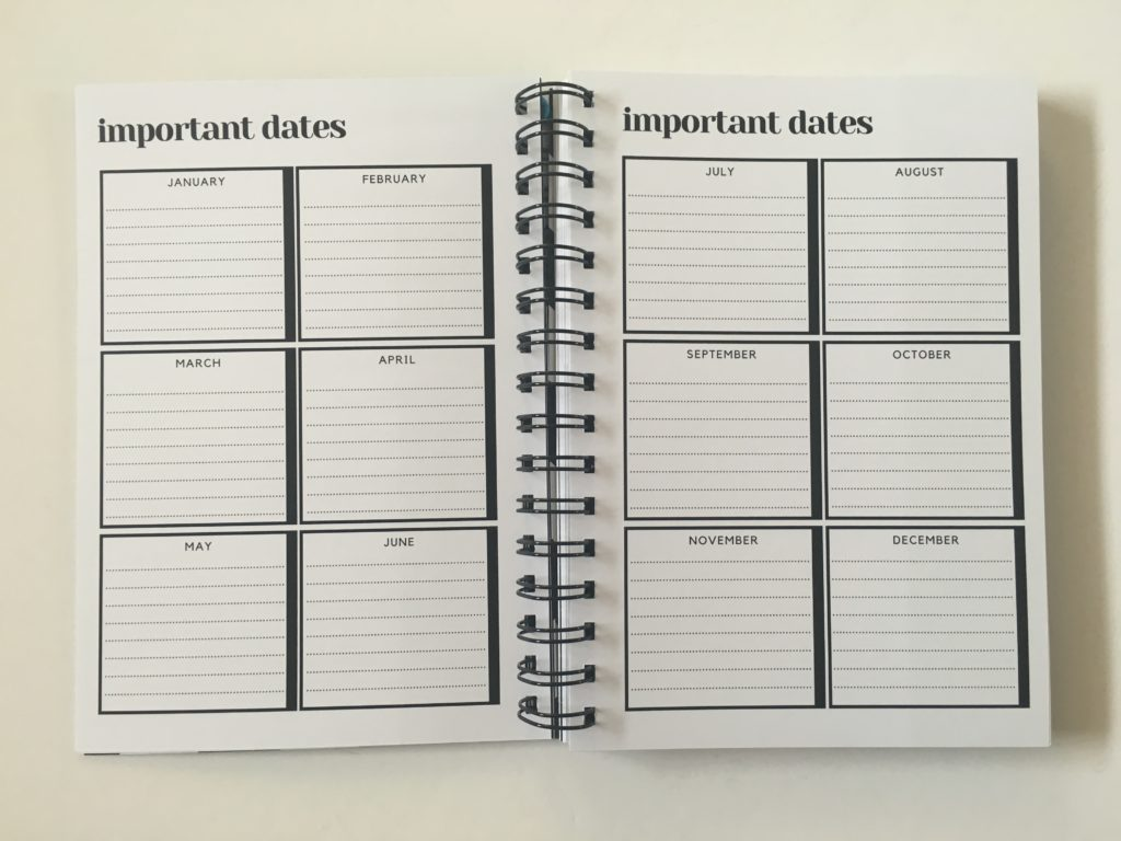 penny paperoni important dates page annual planning monthly organization simple minimalist australian made planner gender neutral horizontal lined 2 page weekly spread